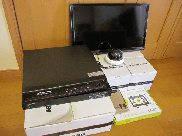 設定前「日本防犯システム」ドーム型監視カメラ・デジタルレコーダー・マルチ電源・モニター