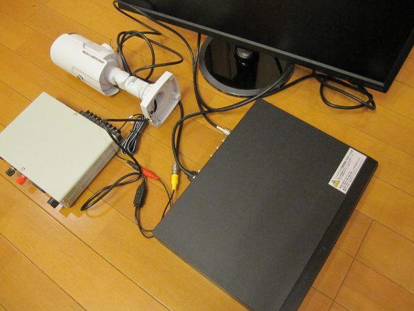 事前設定中:日本防犯システムの監視カメラ・デジタルレコーダー・マルチ電源・モニター