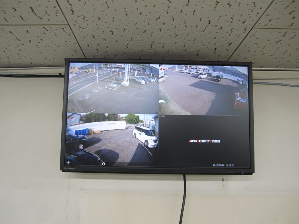 「日本防犯システム」高画質監視カメラ:JS-CA1020&デジタルレコーダー:JS-RA4004 アルファセキュリティによる設置完了後のモニター映像
